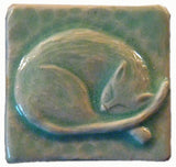 "Snoozing Cat 2""x2"" Ceramic Handmade Tile - Pacific Blue Glaze"