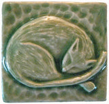 "Snoozing Cat 2""x2"" Ceramic Handmade Tile - Spearmint Glaze"
