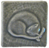 "Snoozing Cat 3""x3"" Ceramic Handmade Tile - Gray Glaze"