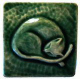 "Snoozing Cat 3""x3"" Ceramic Handmade Tile - Leaf Green Glaze"