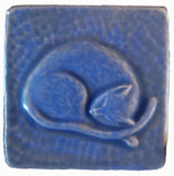 "Snoozing Cat 3""x3"" Ceramic Handmade Tile - Watercolor Blue Glaze"
