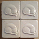 "Snoozing Cat 3""x3"" Ceramic Handmade Tile - White Glaze Grouping"