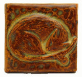 "Snoozing Cat 2""x2"" Ceramic Handmade Tile - Autumn Glaze"