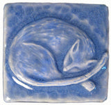 "Snoozing Cat 2""x2"" Ceramic Handmade Tile - Watercolor Blue Glaze"
