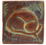 "Snoozing Cat 3""x3"" Ceramic Handmade Tile - Autumn Glaze"
