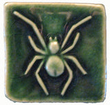 "Spider 2""x2"" Ceramic Handmade Tile - Leaf Green Glaze"