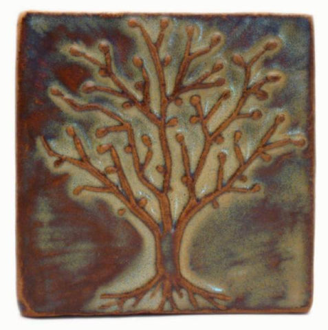 "Spring Oak 4""x4"" Ceramic Handmade Tile - Autumn Glaze"