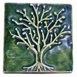 "Spring Oak 4""x4"" Ceramic Handmade Tile - Leaf Green Glaze"