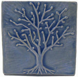 "Spring Oak 4""x4"" Ceramic Handmade Tile - Watercolor Blue Glaze"
