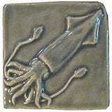 "Squid 4""x4"" Ceramic Handmade Tile - Gray Glaze"