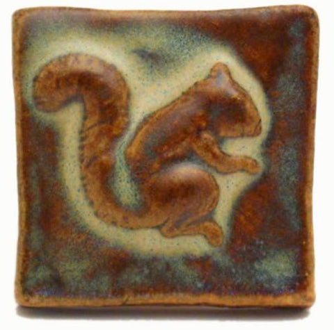"Squirrel 2""x2"" Ceramic Handmade Tile - Autumn Glaze"