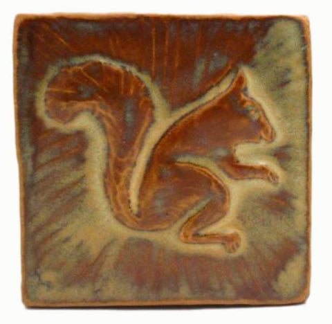 "Squirrel 1 Facing Right 4""x4"" Ceramic Handmade Tile - Autumn Glaze"