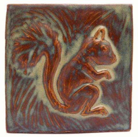 "Squirrel 6""x6"" Ceramic Handmade Tile -Autumn Glaze"