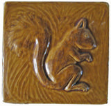 "Squirrel 6""x6"" Ceramic Handmade Tile -Honey Glaze"