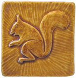"Squirrel 2 Facing Left 4""x4"" Ceramic Handmade Tile - Honey Glaze"