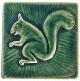 "Squirrel 2 Facing Left 4""x4"" Ceramic Handmade Tile - Leaf Green Glaze"