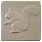 "Squirrel 2 Facing Left 4""x4"" Ceramic Handmade Tile - White Glaze"