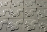 "Squirrel 2 Facing Left 4""x4"" Ceramic Handmade Tile - White Glaze Grouping"