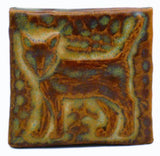 "Standing Cat 2""x2"" Ceramic Handmade Tile - Autumn Glaze"