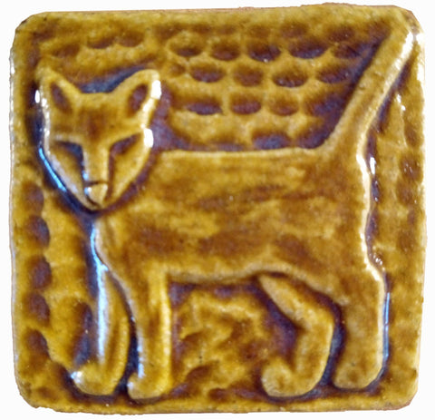 "Standing Cat 2""x2"" Ceramic Handmade Tile - Honey Glaze"