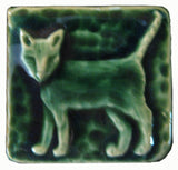 "Standing Cat 2""x2"" Ceramic Handmade Tile - Leaf Green Glaze"