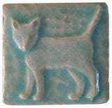 "Standing Cat 2""x2"" Ceramic Handmade Tile - Pacific Blue Glaze"