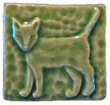 "Standing Cat 2""x2"" Ceramic Handmade Tile - Spearmint Glaze"