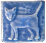 "Standing Cat 2""x2"" Ceramic Handmade Tile - Watercolor Blue Glaze"