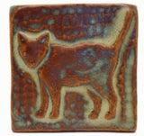 "Standing Cat 3""x3"" Ceramic Handmade Tile - Autumn Glaze"