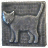 "Standing Cat 3""x3"" Ceramic Handmade Tile - Gray Glaze"
