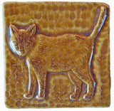 "Standing Cat 3""x3"" Ceramic Handmade Tile - Honey Glaze"