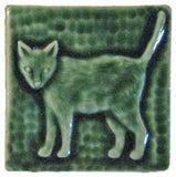 "Standing Cat 3""x3"" Ceramic Handmade Tile - Leaf Green Glaze"