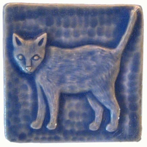 "Standing Cat 3""x3"" Ceramic Handmade Tile - Watercolor Blue Glaze"