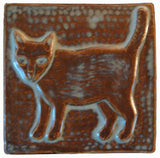 "Standing Cat 4""x4"" Ceramic Handmade Tile - Autumn Glaze"