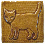 "Standing Cat 4""x4"" Ceramic Handmade Tile - Honey Glaze"