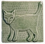"Standing Cat 4""x4"" Ceramic Handmade Tile - Spearmint Glaze"