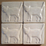 "Standing Cat 3""x3"" Ceramic Handmade Tile - White Glaze Grouping"