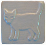 "Standing Cat 4""x4"" Ceramic Handmade Tile - White Glaze"