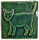 "Standing Cat 4""x4"" Ceramic Handmade Tile - Leaf Green Glaze"