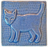 "Standing Cat 4""x4"" Ceramic Handmade Tile - Watercolor Blue Glaze"