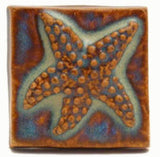"Starfish 2""x2"" Ceramic Handmade Tile - Autumn Glaze"