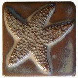 "starfish 3""x3"" Ceramic Handmade Tile - autumn glaze"