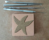 "starfish 3""x3"" Ceramic Handmade Tile - process photo"