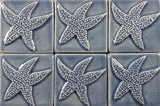 "starfish 3""x3"" Ceramic Handmade Tile - watercolor blue glaze grouping"