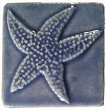 "starfish 3""x3"" Ceramic Handmade Tile - watercolor blue glaze"