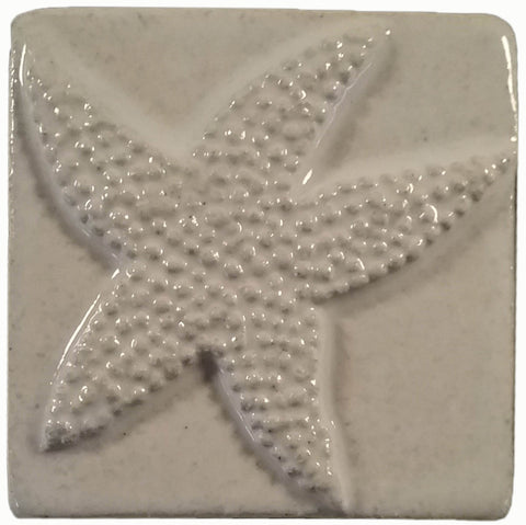 "starfish 3""x3"" Ceramic Handmade Tile - white glaze"