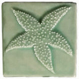 "Starfish 4""x4"" Ceramic Handmade Tile - Pacific Blue Glaze"