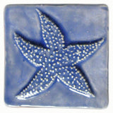 "Starfish 4""x4"" Ceramic Handmade Tile - Watercolor Glaze"