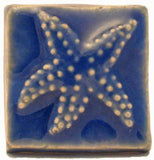 "Starfish 2""x2"" Ceramic Handmade Tile - Watercolor Blue Glaze"