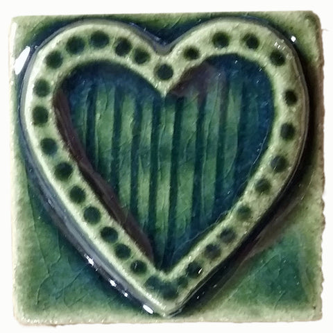 "Striped Heart 2""x2"" Ceramic Handmade Tile - Leaf Green Glaze"